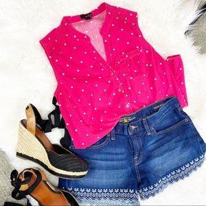Retro sleeveless pink polkadot top shirt button SM